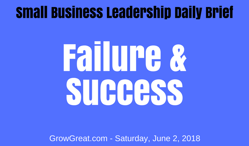 Small Business Leadership Daily Brief: June 2, 2018 - Failure & Success
